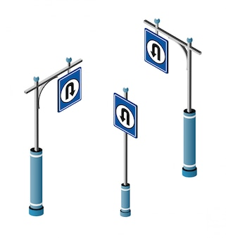 Set of isometric city road signs