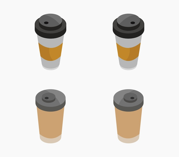 Set of isometric coffee cups