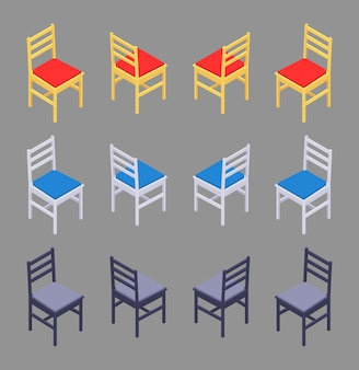 Set of the isometric colored chairs