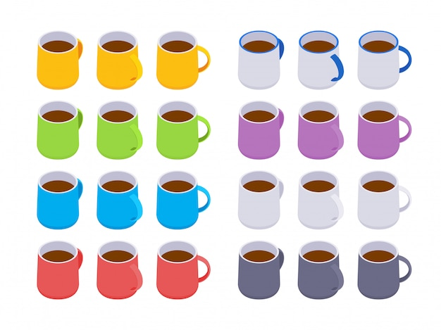 Set of the isometric colored coffee mugs