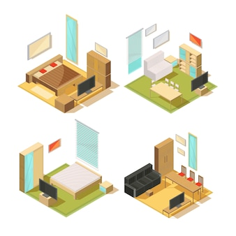 Set of isometric compositions of living room interior furniture with sofas wardrobes mirrors chairs tables and tv vector illustration