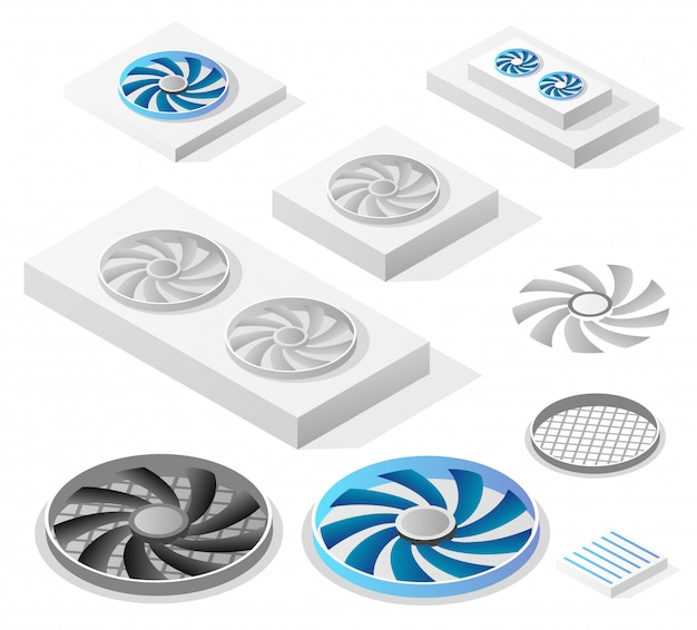 A set of isometric computer fans