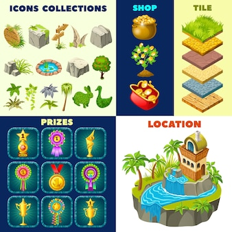 Set of isometric cottage and game elements