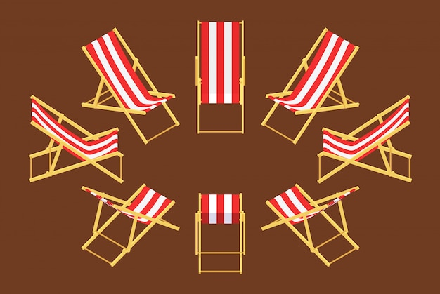 Set of the isometric deck chairs