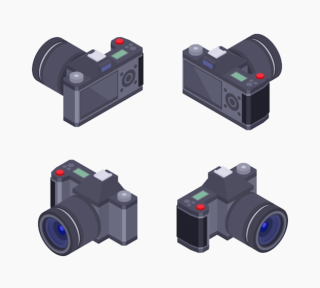 Set of the isometric digital photo cameras