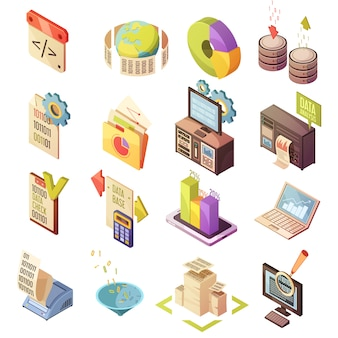 Set of isometric elements with data check search