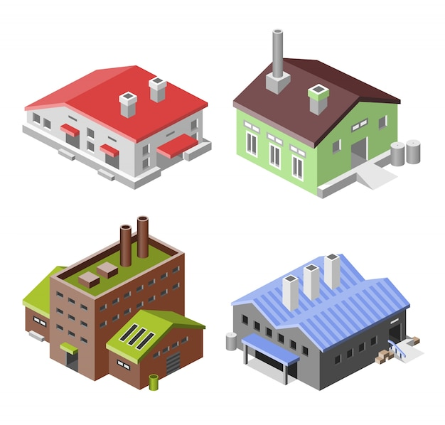 Set of isometric factories
