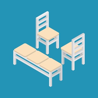 Set of isometric furniture bench and chairs.