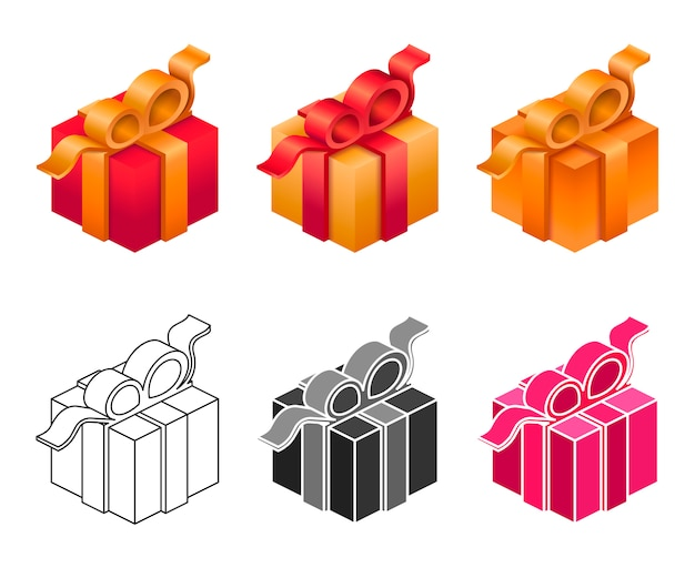 Set isometric gift box in differnet style