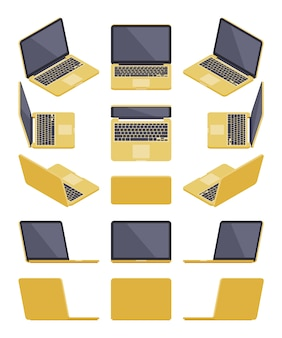 Set of the isometric golden laptops