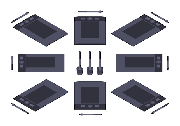 Set of the isometric graphic tablets