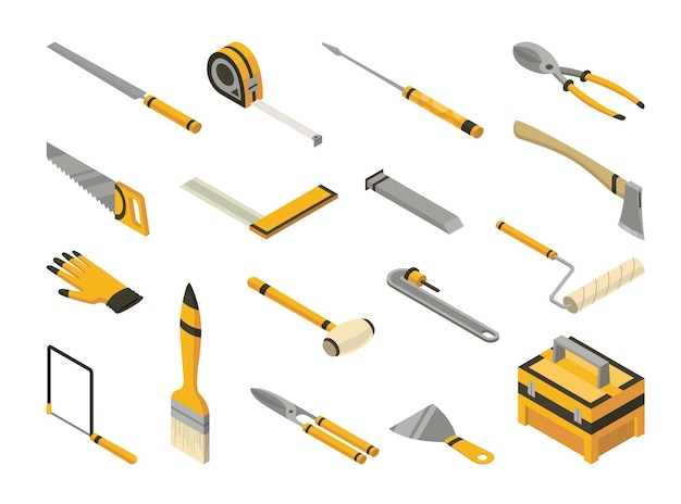 Set of isometric hand tools. detailed icons of tools for handyman repair.
