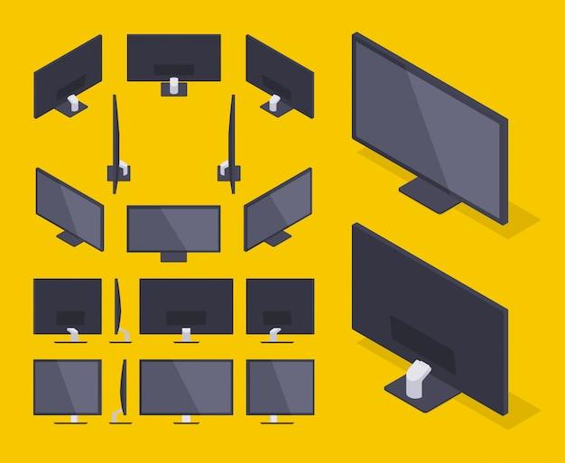 Set of the isometric hd monitors