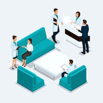 Set isometric health care providers, surgeons, nurse, doctor, patients reception in hospital isolated on a light background