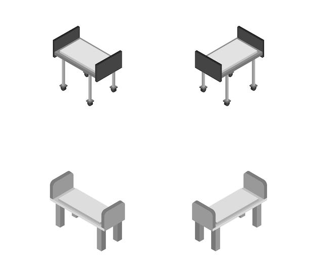 Set of isometric hospital beds