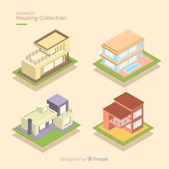 Set of isometric houses
