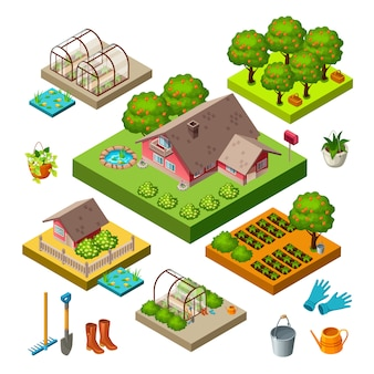 Set of isometric icons garden.