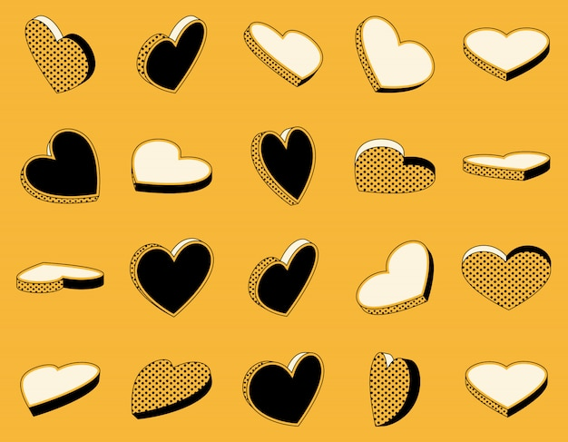 Set of isometric icons of hearts in retro style