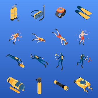 Set of isometric icons human characters with scuba diving equipment isolated vector illustration
