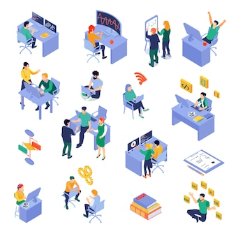 Set of isometric icons programmers at work place during coding debugging or software testing isolated