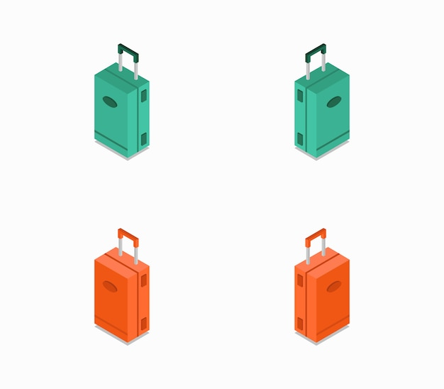 Set of isometric icons travel suitcases