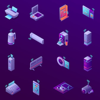 Set of isometric icons with iot technology for business office isolated vector illustration