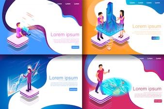 Набор Изометрические Иллюстрация Виртуальные развлечения
