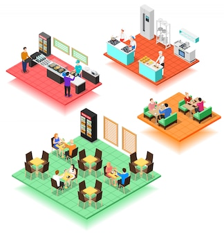 Set of isometric interiors of fast food restaurant