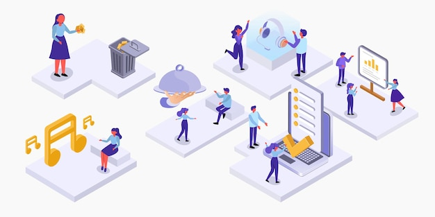 Set isometric lifestyle of people in differnce activity