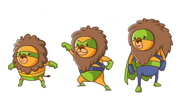 Set of isometric lion hero character evolution illustration