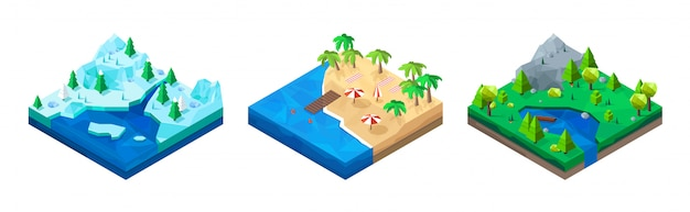 Set of isometric low poly landscapes