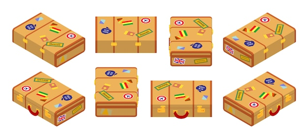 Set of the isometric lying yellow travelers suitcases.