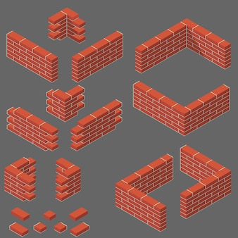 Set of isometric masonry items