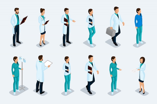 Set of isometric medical professionals