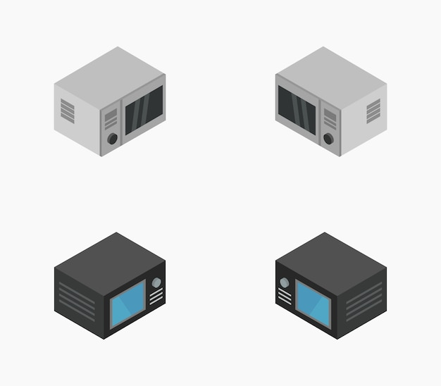 Set of isometric microwave oven