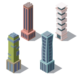Set of isometric modern buildings in cartoon style. urban skyscrapers for town exterior
