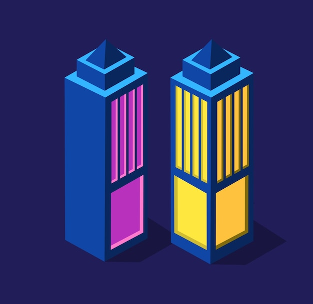 Set of isometric modern buildings