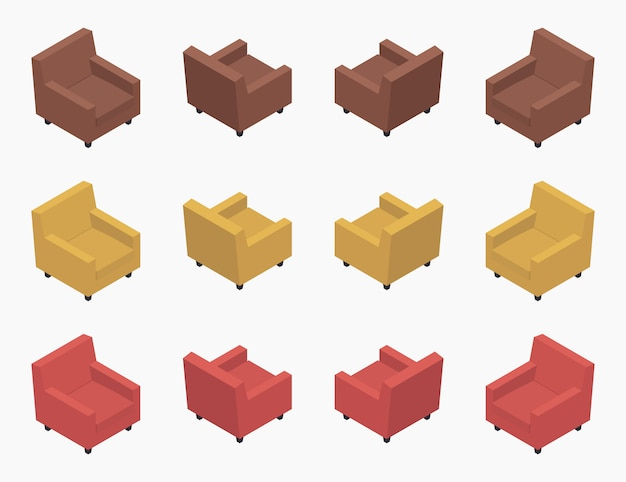 Set of the isometric modern colored armchairs