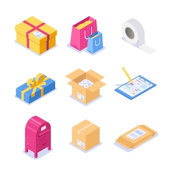 Set of isometric objects on the topic of mail. paper boxes with a letterhead and scotch for packaging. festive packaging with a bow for a gift