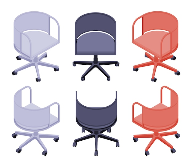Set of the isometric office colored chairs