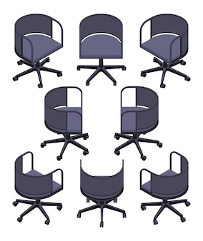 Set of the isometric office spinning chairs