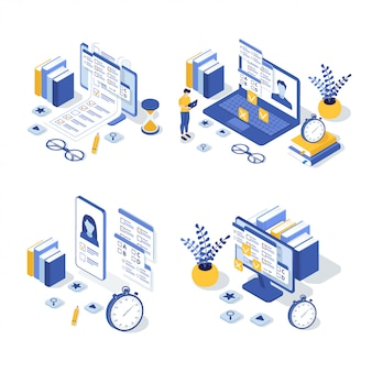 Set of isometric online education illustration