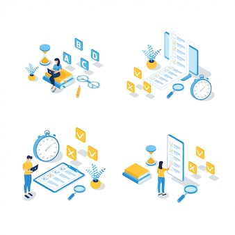 Set of isometric online education ilustrations
