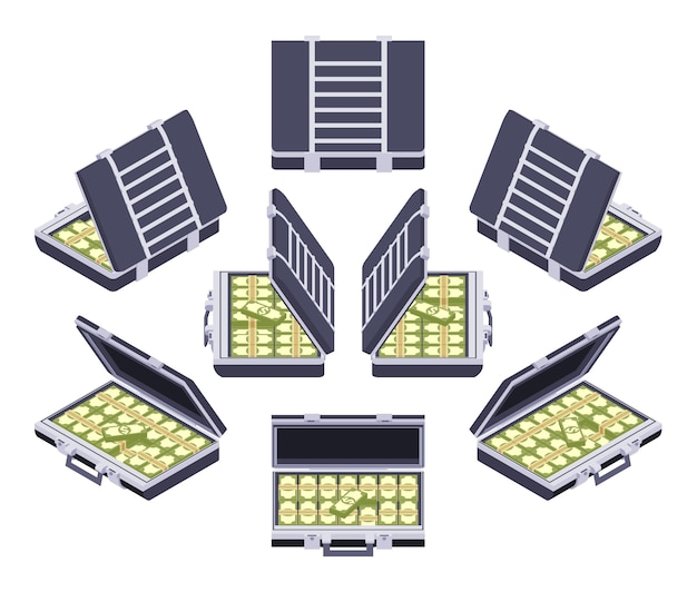 Set of the isometric open briefcases with the money