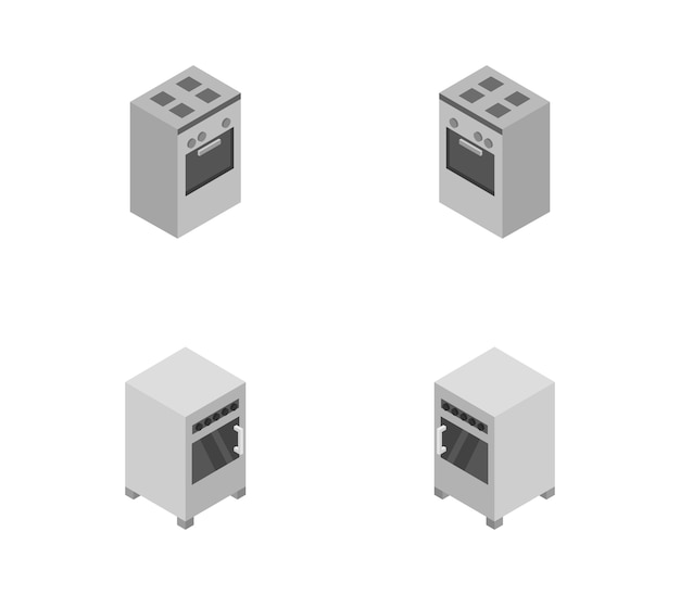 Set of isometric ovens