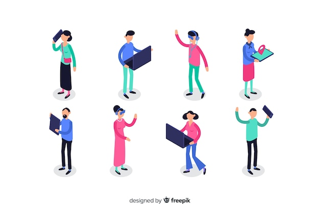 Set of isometric people using technological devices