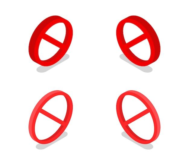Set of isometric prohibitory sign