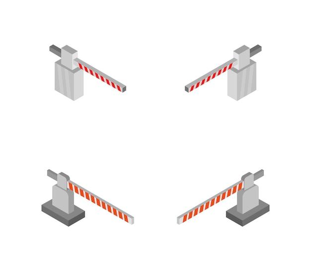 Set of isometric railway barriers