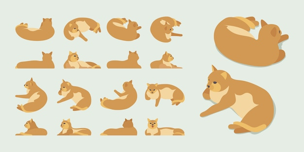 Set of the isometric red lying cats
