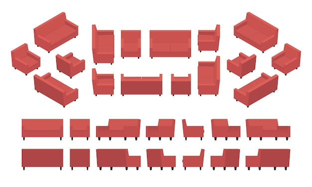 Set of the isometric red modern armchairs and sofas